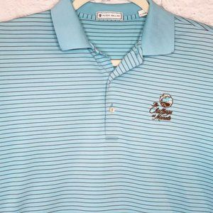 Peter Millar M Blue Brown Stripe Golf Polo Shirt